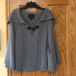Grey sweater shawl with arm holes